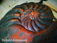 Nautilus fossil in salvaged copper in development, all hand formed using traditional repoussé techniques. Irish Design, Irish Art, Organic Form, Shell Art, Nautilus, Metal Working, Fossil, Gallery Wall, Copper