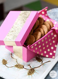 DIY Gold-Leafed Holiday Boxes - love the cookie idea! These are so stunning! By Inspired by Charm.