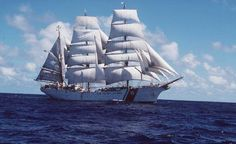 "The United States Coast Guard training ship Eagle under full sail. Eagle is one of very few ""Tall Ships,"" or full-sized sailing ships, remaining in the world. (Photo courtesy United States Coast Guard)"