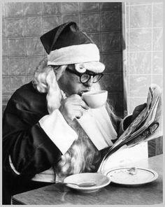 drinking black coffee | Santa