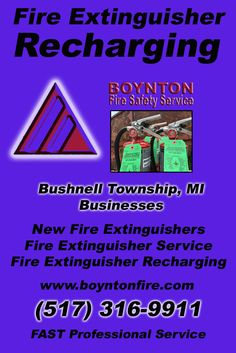 Fire Extinguisher Recharging Bushnell Township, MI (517) 316-9911 Local Michigan Businesses Discover the Complete Fire Protection Source.  We're Boynton Fire Safety Service.. Call us today!