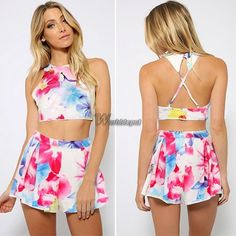 Women Chiffon Floral Printed Backless Cross Cropped Shirt Shorts Two Piece Wt88
