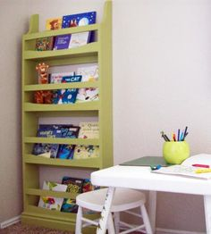 lovely diy book ledge shelf!  perfect for magazines or kids books front facing so easy to put books away  plans by ana-white.com