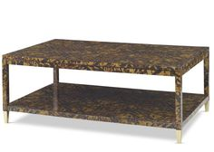 Faux Inlaid Tortoise Shell Finished Coffee Table with Bronze Finish…