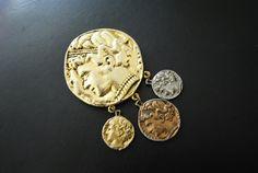 Classy vintage 80s combine metal romen coins  large by VezaVe