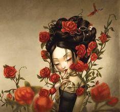 benjamin lacombe madame butterfly - me recordó a Misa Acacia Dark Gothic Art, Dark Art, Madame Butterfly, Surreal Art, Love Art, Oeuvre D'art, Art Girl, Alice In Wonderland, Fantasy Art