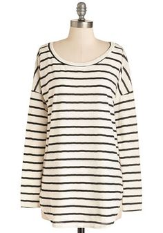 Style On Short Notice Top - Long, Knit, Black, White, Stripes, Lace, Scoop, Black/White, Long Sleeve