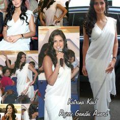 KATRINA KAIF WHITE SAREE WORN AT RAJIV GANDHI AWARD at the Shopping Mall, $40.00
