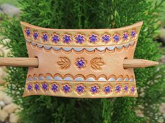 Hand Painted Tooled Leather Hair Barrette Pretty by SarahsArtistry, $10.95
