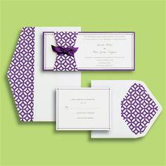 BRIDES® Skinny Modern Purple Wedding Invitation Kit