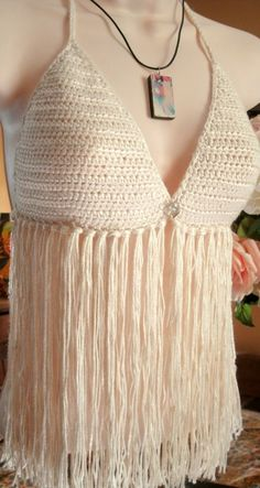 Handmade Crochet Crop Top Sexy Halter With by GoldenHandsDesign, $45.00