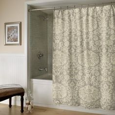 m.style Damask Polyester Shower Curtain; Graphite