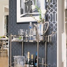 Bar Cart Ideas - There are some cool bar cart ideas which can be used to create a bar cart that suits your space. Having a bar cart offers lots of benefits. This bar cart can be used to turn your empty living room corner into the life of the party. Bar Cart Styling, Bar Cart Decor, Bandeja Bar, Bar Deco, Small Bars For Home, Houston Houses, Trellis Wallpaper, Grey Wallpaper, Geometric Wallpaper