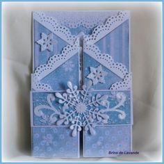 """Bonjour à toutes, Aujourd'hui, une carte de voeux réalisée avec un bloc papiers """"Winter"""", des gabarits de découpe de chez Joy Craft, et des creatables de chez Marianne Design Bon week-end ! Scrapbises Nefret"""