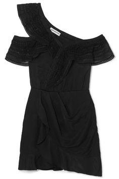 2a78f71f1b99bc Self-Portrait - One-shoulder Guipure Lace-trimmed Satin Mini Dress - Black
