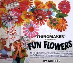 """Fun Flowers """"thing maker."""" Metal molds, goop in a bottle and a really hot little cooking piece!"""