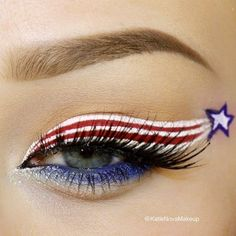 Happy July - of July inspired patriotic eye makeup look Red, White and Blue. Just the red and white for Canada day 4th Of July Celebration, 4th Of July Party, Fourth Of July, Make Up Looks, Makeup Tips, Beauty Makeup, Makeup Ideas, Makeup Hacks, 4th Of July Makeup