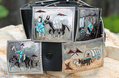 Vintage Old Store Stock Southwestern Sterling Silver Storyteller Concho Belt   eBay