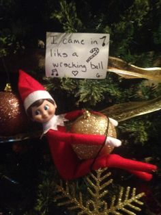 My Grandson just heard about Elf on a Shelf a little over a week ago. My daughter is trying something new each day with it. A Shelf, Elf On The Shelf, Shelves, Try Something New, To My Daughter, Elf Ideas, Holiday Decor, Home Decor, Shelving