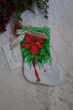 Vintage-Christmas-Tablecloth-Mini-Stocking-Holiday-Decor-Handmade-Gift-S11