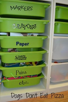 Playroom-Great idea to do to plastic doors, after painting inside with acrylic paint use cute stickers to label . Trofast storage system from Ikea. Playroom Organization, Pantry Organization, Organized Pantry, Playroom Ideas, Playroom Seating, Playroom Closet, Ikea Playroom, Organisation Ideas, Playroom Design