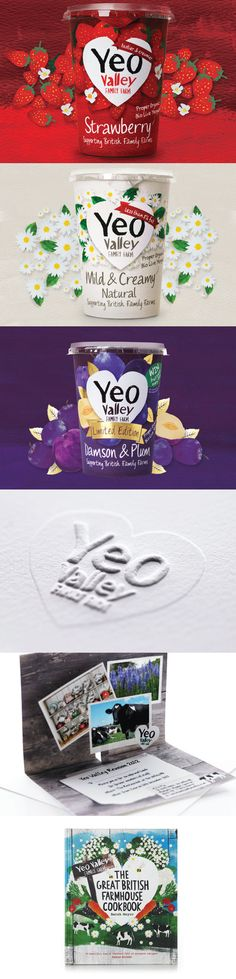 Yeo Valley Branding, Packaging By Big Fish Yogurt Packaging, Dairy Packaging, Ice Cream Packaging, Cool Packaging, Food Packaging Design, Bottle Packaging, Packaging Design Inspiration, Brand Packaging, Gift Packaging