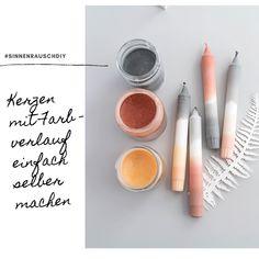 Gut gegen Wintergrau: Tolle DIY Kerzen mit Farbverlauf ganz einfach selber gestalten Blush, Eyeshadow, Beauty, Winter Time, Canning, Diy, Crafting, Amazing