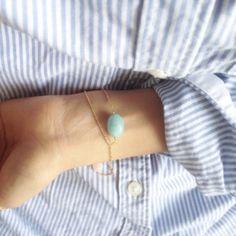 Minimalist jewelry - Aqua blue gem bracelet blue jewel dainty bracelet  by LilBlueFishOfLille