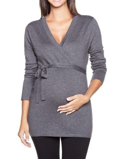 Crossover maternity sweater // Tricot de maternité this would be cute with leggings and boots