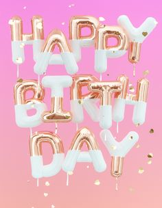 Happy Birthday text pink gold foil balloons and golden hearts confetti creative festive web-banner, greeting card background, rendering Happy Birthday Wishes Photos, Happy Birthday Notes, Happy Birthday Celebration, Happy Birthday Greetings, Birthday Text, Happy Birthday Wallpaper, Silvester Party, Birthday Balloons, Foil Balloons