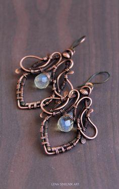 Wire wrap earrings, copper earrings, pineapple quartz earrings by LenaSinelnikArt on Etsy https://www.etsy.com/listing/184591769/wire-wrap-earrings-copper-earrings