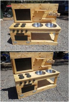 A sort of creative and simple variation designing of the pallet mud kitchen has been custom added up with the wood pallet superb enrollment. You can visible view the stacking of the pallet planks has been put together inside it… Continue Reading → Kids Outdoor Play, Backyard For Kids, Diy For Kids, Outdoor Play Kitchen, Diy Pallet Furniture, Diy Pallet Projects, Wood Projects, Pallet Kids, Small Wooden Projects