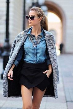 Women's Black Mini Skirt, Blue Denim Button Down Shirt, Silver Necklace, and Grey Coat Culotte Shorts, Skort, Mode Stage, Look Fashion, Womens Fashion, Fashion Trends, Street Fashion, Fall Outfits, Cute Outfits