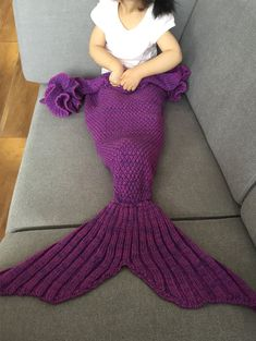 Knitted Mermaid Tail Blankets For Baby