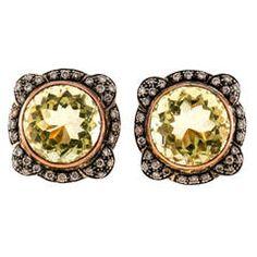 Green Quartz Diamond Pink Silver Gold Earrings