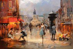Peinture d'une rue commerçante
