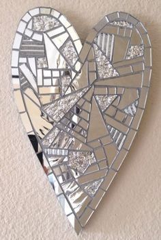 Mirror Mosaic Heart - Dazzle My HeartMosaic Heart - I would make this but put blue shards in it too! like the uneven wonky shape of the pieces.adding form to break up the chaoslet your heart shine! Mirror Mosaic, Mirror Art, Mosaic Art, Mosaic Glass, Mosaic Tiles, Stained Glass, Glass Art, Heart Mirror, Mirror Glass