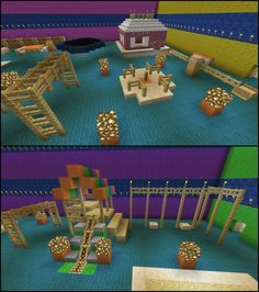 Minecraft Play Room Trampoline Swing Set Sand Box Slide Merry Go Round Park Playground House