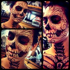 Day of the Dead Makeup. This sugar skull look is unique and different - the perfect face paint to go with a Halloween or Dia de los Muertos costume! Maske Halloween, Halloween Cosplay, Halloween Costumes, Happy Halloween, Fall Halloween, Halloween Ideas, Dark Beauty, Day Of Dead Makeup, Makeup Fx