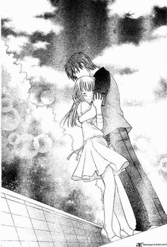 If I remember correctly, I could hardly see this picture due to all of the tears in my eyes while I was reading the manga. So touching.  Kyo and Tohru - Fruits Basket