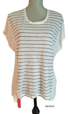 NWT $135 VINCE Striped Linen Cocoon Tee White Blue Dolman Popover Top Tunic XS  #Vince #Tunic #Casual