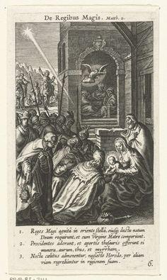 Boëtius Adamsz. Bolswert   Aanbidding der koningen, Boëtius Adamsz. Bolswert, 1590 - 1622   Drie koningen aanbidden het Christuskind. Twee scènes in het landschap tonen twee andere gebeurtenissen uit het bijbelverhaal: de drie koningen op reis volgen de ster die hun de weg wijst naar de Koning der Joden en de engel waarschuwt de drie koningen om niet terug te keren naar Herodes.