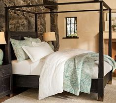 Dawson Canopy Bed & Extra-Wide Dresser Set #potterybarn