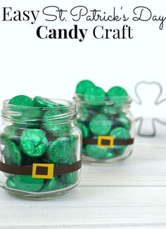 St. Patrick's Day Candy Jars with Kisses - Mason Jar Craft Idea for St. Patrick Day - St Patrick Craft Ideas with Mason Jars