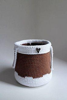 Košíky - Košík - Biela hnedá gombík srdiečko - 7319927_