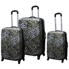 Travelers Club Safari Collection 3-Piece ABS Upright Spinner Luggage Set - Leopard Print