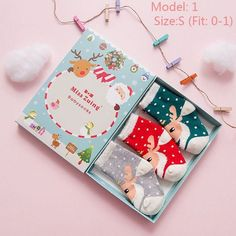3 Pair/Set Baby Cute Girl Boy Unisex Christmas Party Cartoon Elk Santa Claus Soft Cotton Winter Sock Leg Thick Warmer Sock 2016