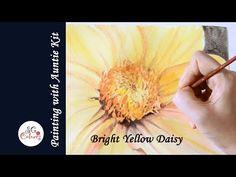 Bright Yellow Daisy - Watercolour effect with Derwent Inktense Blocks - YouTube