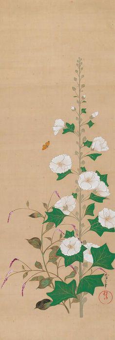Hollyhocks. Sakai Ōho (Sakai Hōitsu's adopted son. Hanging scroll. Japan. (酒井鶯蒲; 1808–1841). Edo period. Metropolitan Museum of Art,…