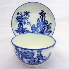 Antique Caughley Blue & White Porcelain Tea Bowl & Saucer Bell Toy Pattern 1785
